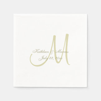 Gold Monogram Wedding Disposable Serviettes