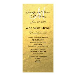 Gold Monogram Wedding Menu Card Custom Rack Card