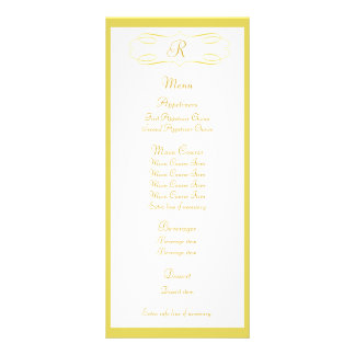 Gold Monogram Wedding Menu Rack Card