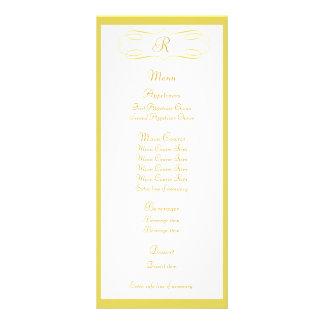 Gold Monogram Wedding Menu Custom Rack Card