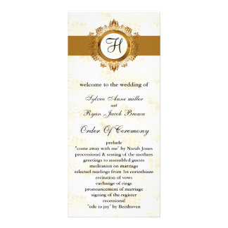 gold monogram Wedding program Rack Card Design