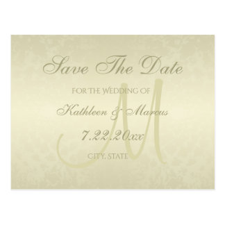 Gold Monogram Wedding Save the Date Postcard