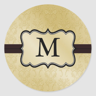 Gold Monogram Wedding Stickers