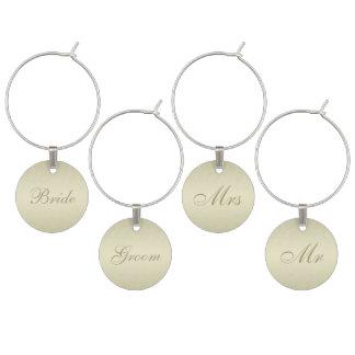 Gold Monogram Wedding Wine Charm