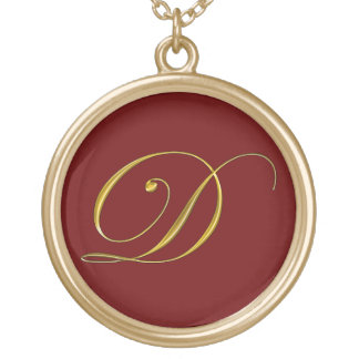 Gold Monograms Initial D Necklaces