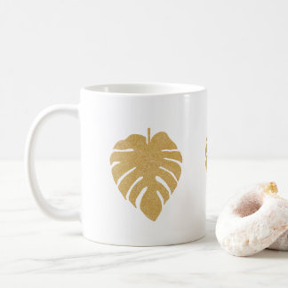 Gold Monstera Print Coffee Mug