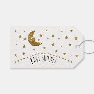 Gold Moon and Stars Baby Shower Gift Tags