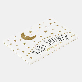 Gold Moon and Stars Baby Shower Guest Book