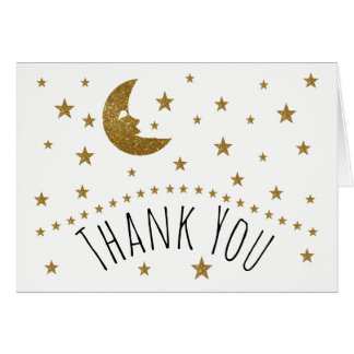 Gold Moon and Stars Baby Shower Thank You Card
