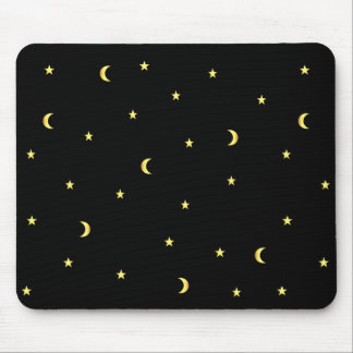 Gold Moon and Stars Mouse Pad