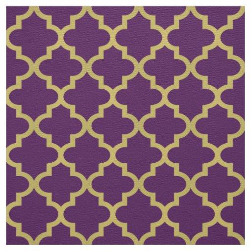 Gold Moroccan Quatrefoil Purple Pattern Fabric Zazzle
