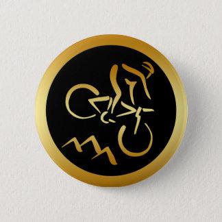 GOLD MOUNTAIN BIKER 6 CM ROUND BADGE