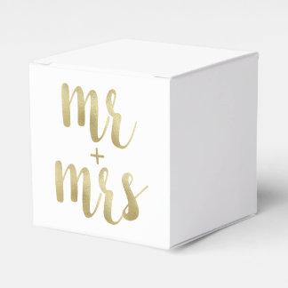 Gold Mr. & Mrs. favor boxes, foil Favour Box