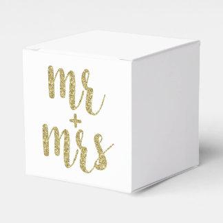 Gold Mr. & Mrs. favor boxes, glitter Favour Box