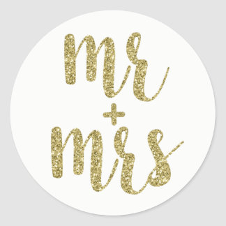 Gold Mr. & Mrs. stickers, glitter, round Classic Round Sticker