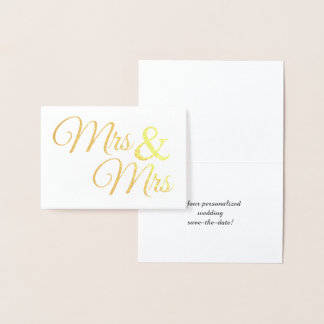 Gold Mr & Mrs Word Art Save the Date Foil Card