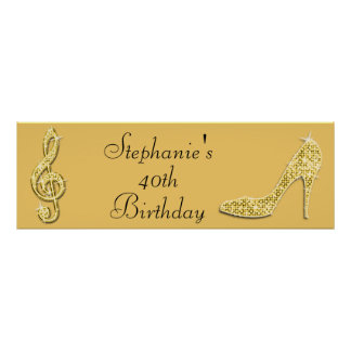 Gold Music Note and Stiletto 40th Birthday Posters