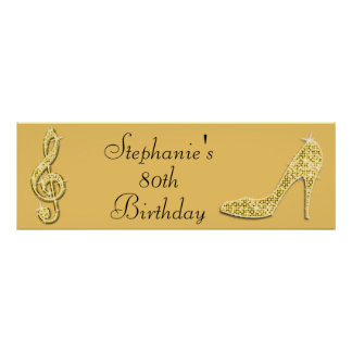Gold Music Note and Stiletto 80th Birthday Print