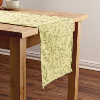Gold Music Notes Floral Pattern Table Runner