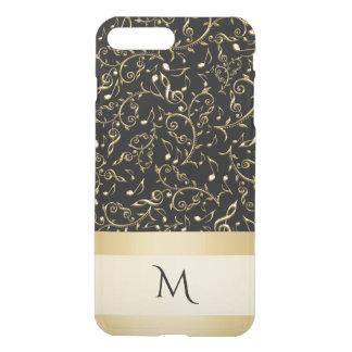 Gold Music Notes Monogram iPhone 7 Case ~ Black