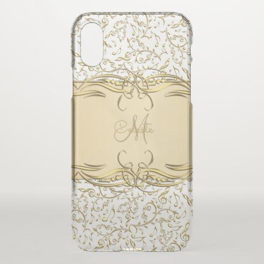 Gold Music Notes Monogram iPhone X Case
