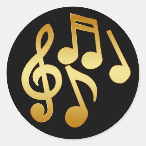 GOLD MUSIC NOTES ROUND STICKER