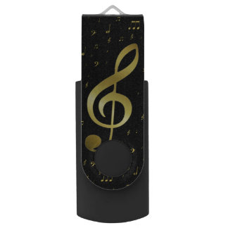 gold music notes swivel USB 2.0 flash drive