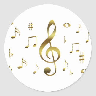 Gold Musical Notes Sticker