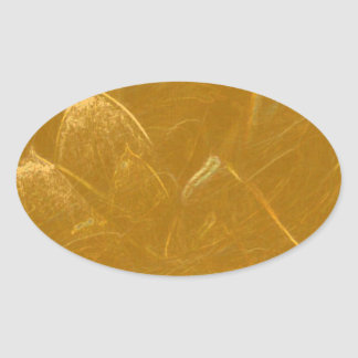 Gold n Copper Sheet :  Lotus Engraved Design Oval Sticker
