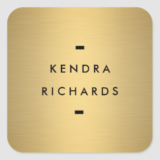 Gold Name Logo Square Sticker