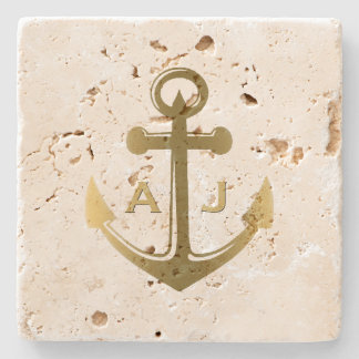 Gold Nautical Anchor Wedding Monogram Stone Coaster