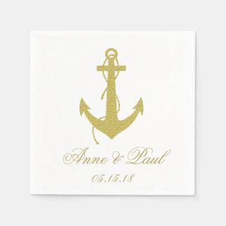 Gold Nautical Napkins Paper Napkin