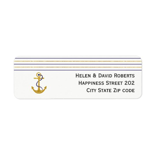 Gold, navy anchor and stripes nautical wedding return address label