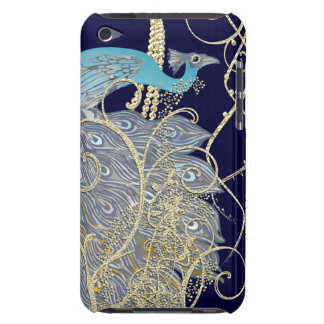 Gold Navy Black Peacock Swirl iTouch Case Barely There iPod Covers