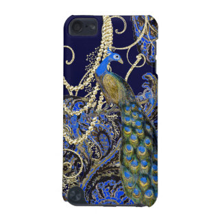 Gold Navy Black Peacock Swirl iTouch Case iPod Touch 5G Covers