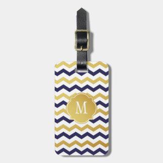 Gold & Navy Blue Chevron Monogram Luggage Tag