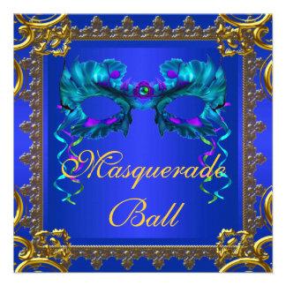 Gold Navy Blue Cobalt Blue Mask Masquerade Ball Invitations
