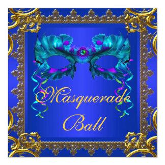 "Gold Navy Blue Cobalt Blue Mask Masquerade Ball 5.25"" Square Invitation Card"