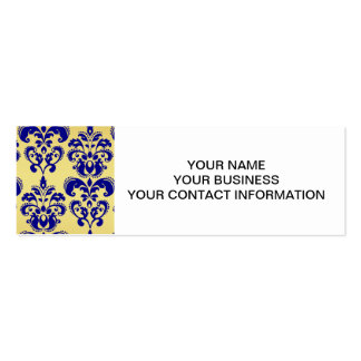 Gold, Navy Blue Damask Pattern 2 Double-Sided Mini Business Cards (Pack Of 20)
