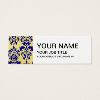 Gold, Navy Blue Damask Pattern 2 Mini Business Card