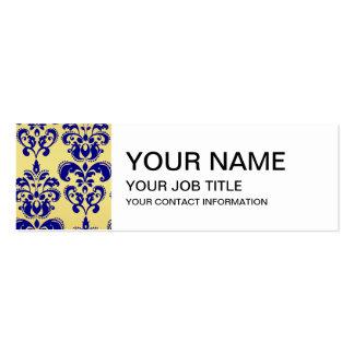 Gold, Navy Blue Damask Pattern 2 Pack Of Skinny Business Cards