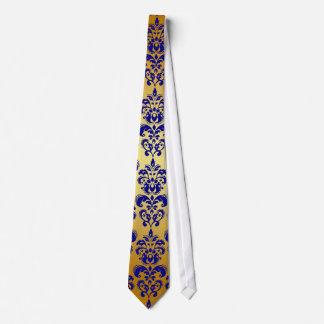 Gold, Navy Blue Damask Pattern 2 Tie