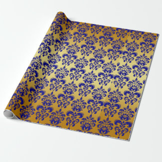 Gold, Navy Blue Damask Pattern 2 Wrapping Paper