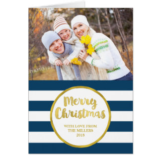 Gold Navy Blue Stripes Merry Christmas Photo Card