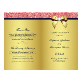 Gold Navy Coral Sequins Bow Wedding Program Flyer