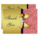 Gold Navy Coral Sequins Diamonds Bow Thank You Card