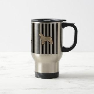 Gold Newfoundland dog travel mug