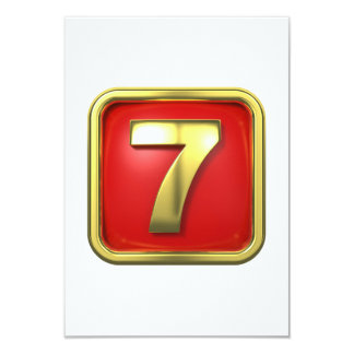 Gold Number Seven Invitations