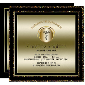 Gold Nurse Graduation Party | RN Pinning Ceremony Card