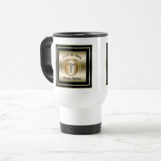 Gold Nurse Graduation Travel Mug | Caduceus Symbol